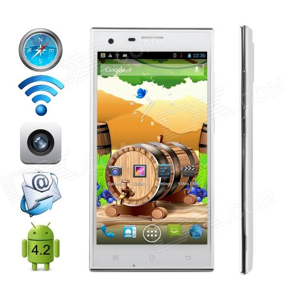 CUBOT S308 MTK6582 Quad-Core Android 4.4 WCDMA Bar Phone w/ 5.0 OGS HD / Wi-Fi / GPS - White m pai 809t mtk6582 quad core android 4 3 wcdma bar phone w 5 0 hd 4gb rom gps black