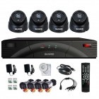 SANNCE 4-CH DVR + 4 x 480TVL CCTV Cameras Security Monitoring System Set - Black (PAL / UK Plug)