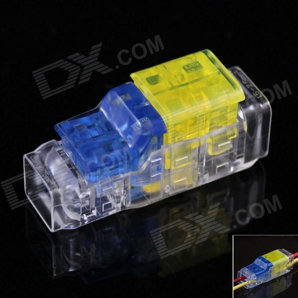 2-to-2 Free Skinned Electric Wire Cable Quick Joint / Connector - Yellow + Blue + Transparent (5PCS) - DXDIY Parts &amp; Components<br>Suitable for solid wire stranded wire fused wire; Excellent current-carrying; Wearable high-temperature / fire resistant good insulation performance and anti-impact; Can be used once only.<br>