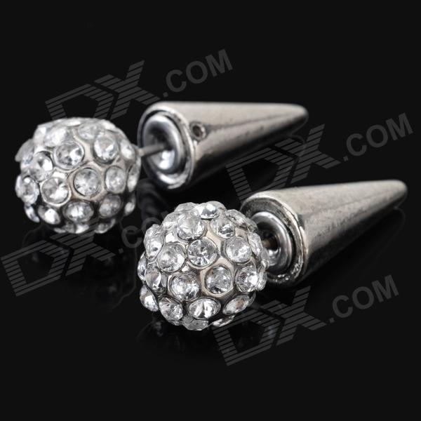 ER-7202 Women's Fashionable Rhinestone Inlaid Zinc Alloy Earstuds - Silver (Pair)