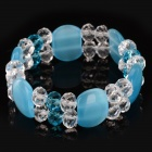 Fenlu FL-055 Women's Fashionable Opal + Glass Beads Bracelet - Blue + Transparent