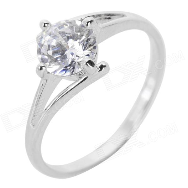 Fenlu FL-078 Creative ''Y''' Shaped Rhinestone Inlaid Ring for Women - Silver (U.S Size 5.5)