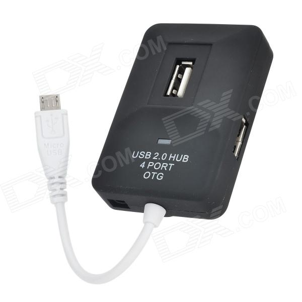 480Mbps Mini USB 2.0 4-Port Hub w/ Indicator - Black
