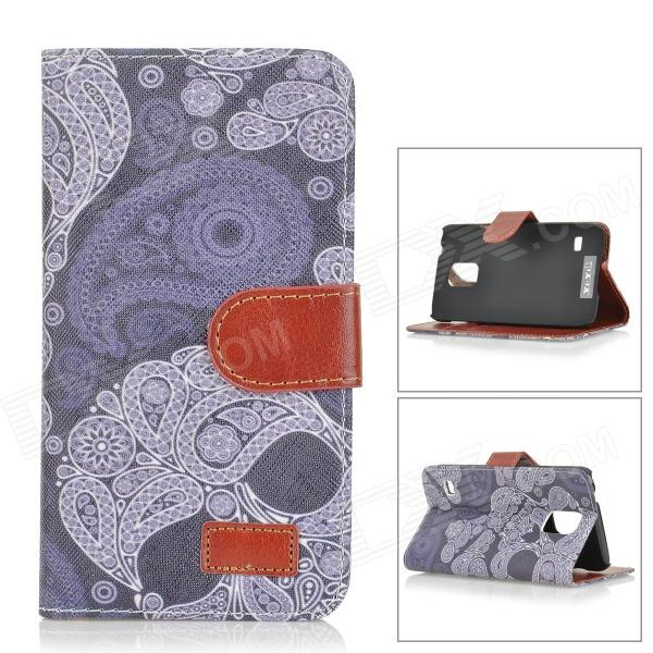Skull Patterned Flip-Open PU Leather Case w/ Stand / Card Slot for Samsung Galaxy S5 - Black + Grey leopard print flip open pu leather case w stand for samsung galaxy s5 khaki brown multi color