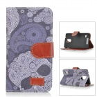 Skull Patterned Flip-Open PU Leather Case w/ Stand / Card Slot for Samsung Galaxy S5 - Black + Grey