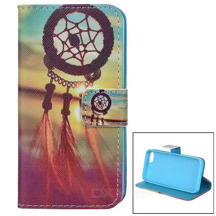 YI-YI Chinese Knot Patterned Flip-Open PU Leather Case w/ Stand for IPHONE 5 / 5S - Brown + Blue