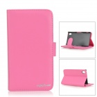 Fashionable Protective Flip-Open PU + ABS Case w/ Stand / Card Slot for Sony Xperia Z2 - Dark Pink
