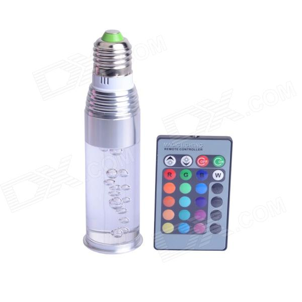 E27 3W 250lm LED RGB Crystal Light Bulb w/ Remote Control - Silver + Transparent (AC 85~265V) jr led e27 10w 500lm led rgb light bulb w remote control white silver ac 85 265v