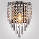 Conca 8195 DIY Mini Bedside Decorative Crystal Wall Light Lamp Bulb Holder w/ E14 Connector - Silver