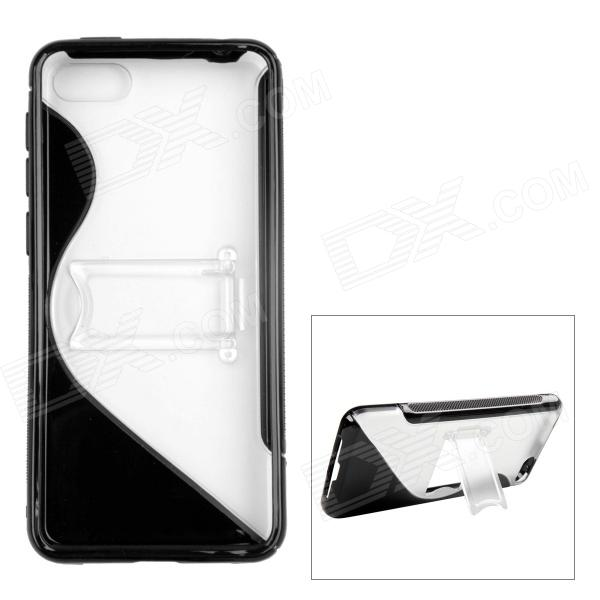 ''S'' Shaped Protective TPU + PC Back Case w/ Stand for Amazon Fire Phone - Transparent + Black стоимость