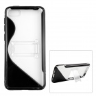 ''S'' Shaped Protective TPU + PC Back Case w/ Stand for Amazon Fire Phone - Transparent + Black