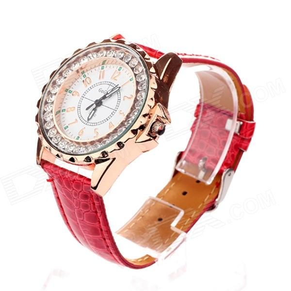 Women's Stylish PU Leather Band Quartz Analog Wrist Watch - Rose Gold + Red (1 x 377)