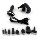 Universal UK Plug Power Adapter + Car Charger + Connector + Cable Set for Cellphone - Black