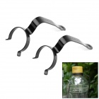 Universal 7-Shaped Stainless Steel Hanging Hooks / Clamps for Water Bottles - Black (2 PCS)