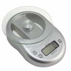 "WH-B11 1.7"" LCD 5KG Kitchen Digital Electronic Balance Scale w/ Clock / Countdown - Silver (2 x AAA)"
