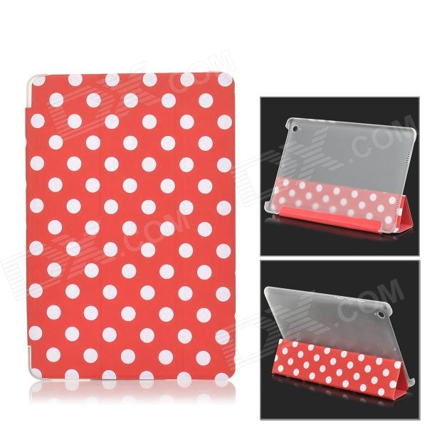 Polka Dot Flip-Open PU Leather Case w/ Auto Sleep / Stand for Xiaomi MIUI Mi Pad - Red + White handpainted cactus and polka dot printed pillow case