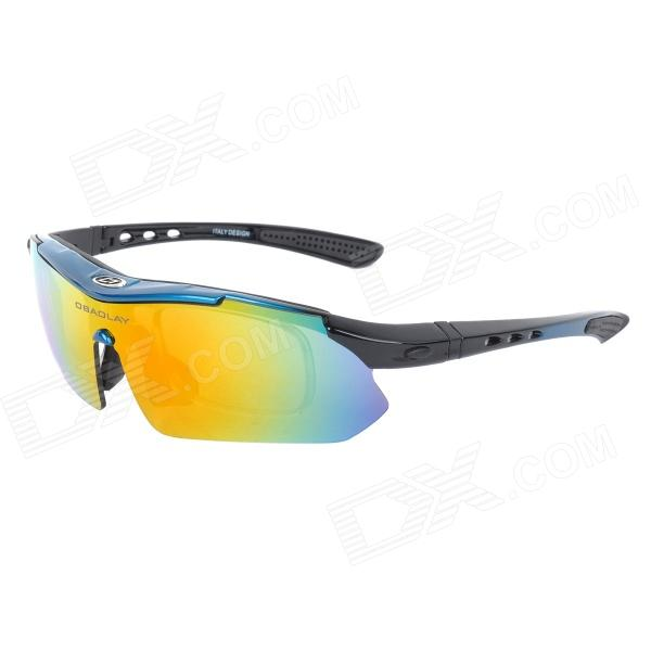 OBAOLAY SP0868 Outdoor Cycling PC Frame Red REVO Lens Polarized Sunglasses / Goggles - Black + Blue