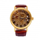 Men's Stylish PU Leather Band Skeleton Dial Analog Mechanical Wrist Watch - Golden + Brown