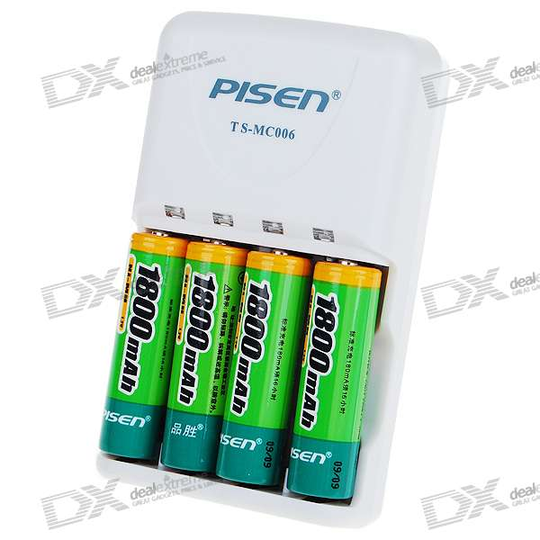 Pisen Aa Aaa Battery Charger 4 Aa 1 2v 1800mah