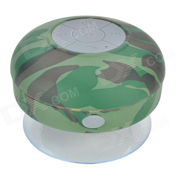Waterproof Bluetooth V3.0 Bathroom Speaker w/ Microphone + Suction Cup - Camouflage Green