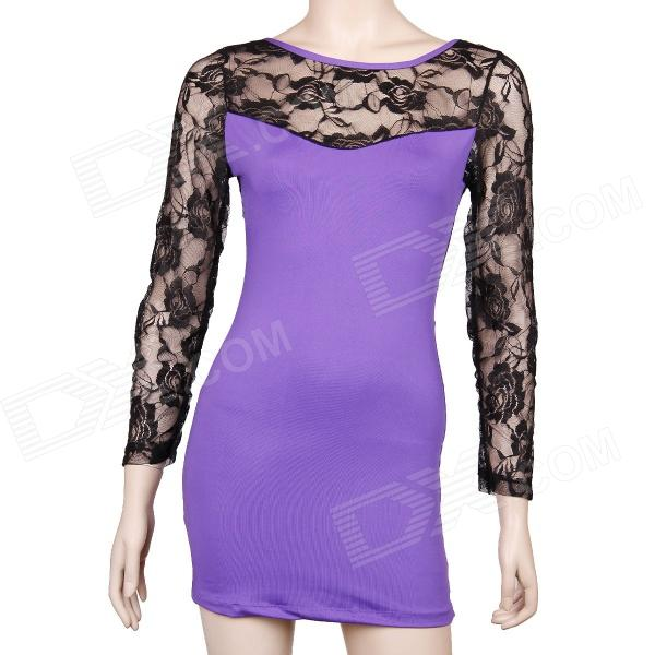 Sexy Long Sleeve See-through Back Lace Dress - Purple + Black (Size M) long sleeve plunge see through lace tight pencil dress