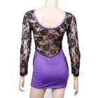 Sexy Long Sleeve See-through Back Lace Dress - Purple + Black (Size M)