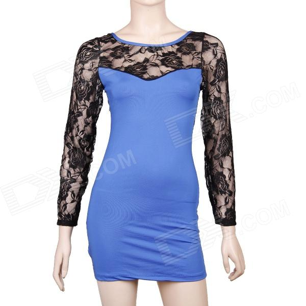 Sexy Long Sleeve See-through Back Lace Dress - Blue + Black (Size M) long sleeve plunge see through lace tight pencil dress