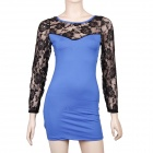 Sexy Long Sleeve See-through Back Lace Dress - Blue + Black (Size M)