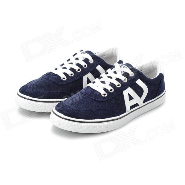 SNJ Men's Stylish Casual Canvas Shoes - Blue + White (EU Size 44)
