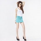 Catwalk88 Women's Stylish Denim Mini Skirt - Green (L)