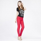 Catwalk88 Women's Stylish Candy Color Low-waist Tight Pencil Pants - Red (29)