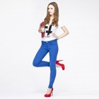 Catwalk88 Women's Stylish Candy Color Low-waist Tight Pencil Pants - Blue (27)