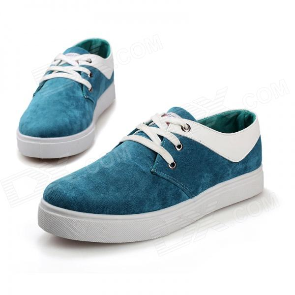 SNJ 99-669 Men's Fashionable Casual Suede Leather Shoes - Green + White (Pair / EUR Size 44)