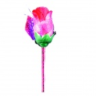 Creative Artificial Rose Patterned Blue Refill Plastic Ballpoint Pen - Green + Red
