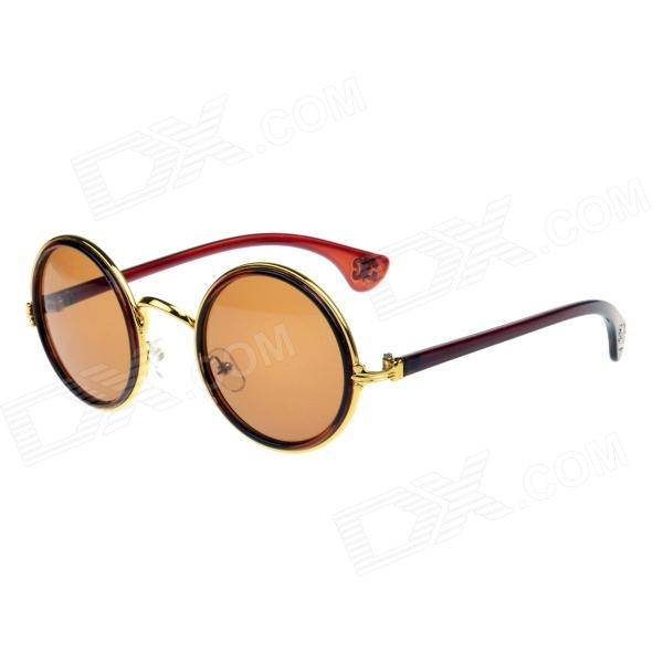 CHROME Stylish Retro Round Lens UV400 Sunglasses - Golden + Brown melompo
