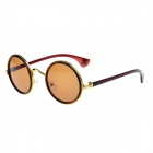 CHROME Stylish Retro Round Lens UV400 Sunglasses - Golden + Brown