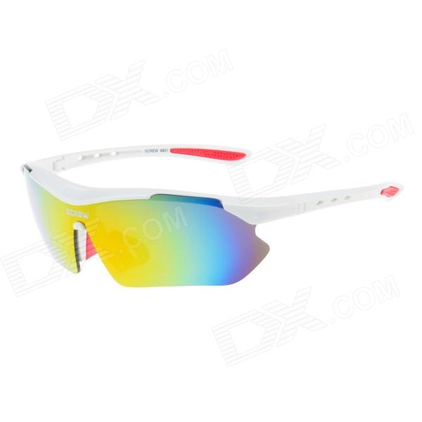 Outdoor Red REVO UV400 Lens Sunglasses Goggles for Cycling / Travel - White