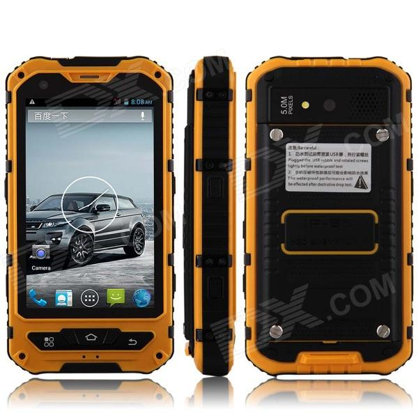 A8 Dustproof Waterproof Shockproof Dual-Core Android 4.2.2 WCDMA Phone w/ 4, Wi-Fi and GPS - Yellow hummer h5 3g smartphone 4 0 capacitive screen mtk6572 dual core 1 3ghz 512mb 4gb dual sim card waterproof shockproof dustproof gps smart phone unlocked