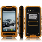 "A8 Dustproof Waterproof Shockproof Dual-Core Android 4.2.2 WCDMA Phone w/ 4"", Wi-Fi and GPS - Yellow"