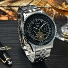 MCE Men's Multifunction Cooper Band Analog Mechanical Automatic Wrist Watch - Black + Silver