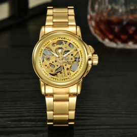 MCE Women's Fashion Hollow Out Style Steel Band Analog Automatic Mechanical Watch - Golden