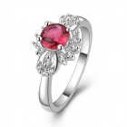 Fashion Women's Silver Plated Rhinestone Inlaid Ring - Silver + Red