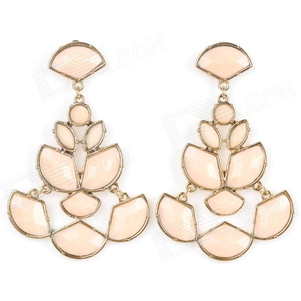 ER-5236 Women' s Elegant Hollow Out Water Drop Style Zinc Alloy Earrings - Light Pink (Pair) women s creative police box style zinc alloy earrings for valentine s day silver green pair