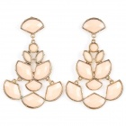 ER-5236 Women' s Elegant Hollow Out Water Drop Style Zinc Alloy Earrings - Light Pink (Pair)