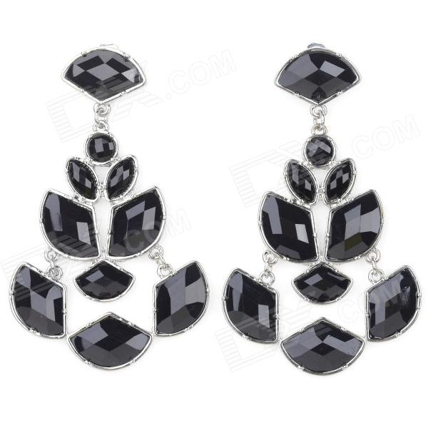 ER-5236 Women' s Elegant Hollow Out Water Drop Style Zinc Alloy Earrings - Black (Pair) women s creative police box style zinc alloy earrings for valentine s day silver green pair