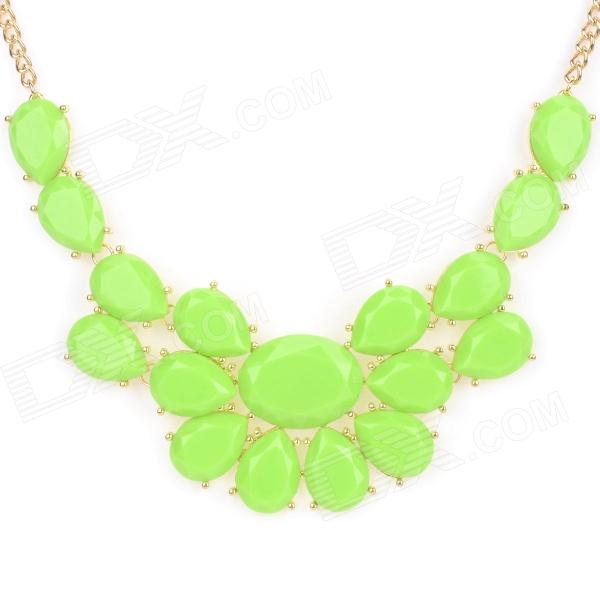 NC-3867 Women's Fashionable Zinc Alloy + Resin Pendant Necklace - Green resin assembly kits 1 9 200mm police girl 200mm unpainted kit resin model free shipping