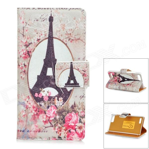 Eiffel Tower Pattern Protective PU Leather + Plastic Case for HUAWEI G6 - Grey + Black