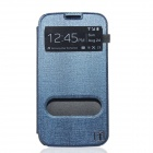 Flower Show Flip Open PU + PC Case w/ Visual Window / Stand for Samsung Galaxy S4 i9500 - Deep Blue