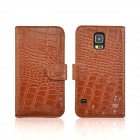 Angibabe Alligator Pattern Flip Open Split Leather Case w/ Stand / Card Slots for Samsung Galaxy S5