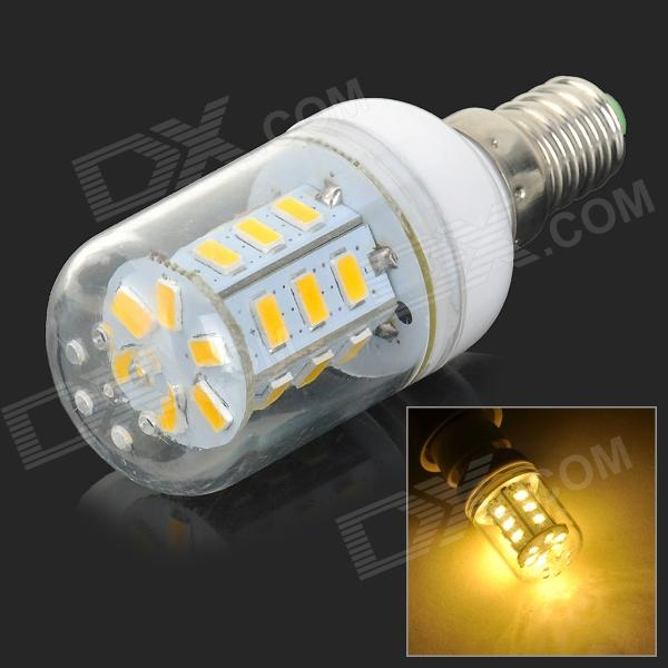 JRLED E14 5W 360lm 3300K 24-SMD 5730 LED Warm White Light Bulb - White + Beige (AC 220~240V)E14<br>ColorWhite + Beige + Multi-ColoredColor BINWarm WhiteBrandJRLEDModelJRLED-E14-5730-24DMaterialPlastic + ironQuantity1 PiecePower5WRated VoltageAC 220-240 VConnector TypeE14Chip BrandHugaChip Type5730Emitter TypeOthers,5730 SMD LEDTotal Emitters24Theoretical Lumens400 lumensActual Lumens180~360 lumensColor TemperatureOthers,3000~3300KDimmablenoBeam Angle360 °Packing List1 x Bulb<br>